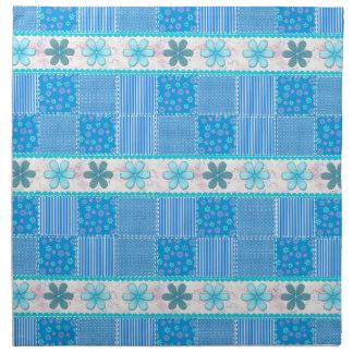 Blue patchwork napkin