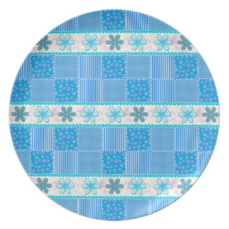 Blue patchwork plate