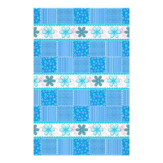 Blue patchwork stationery