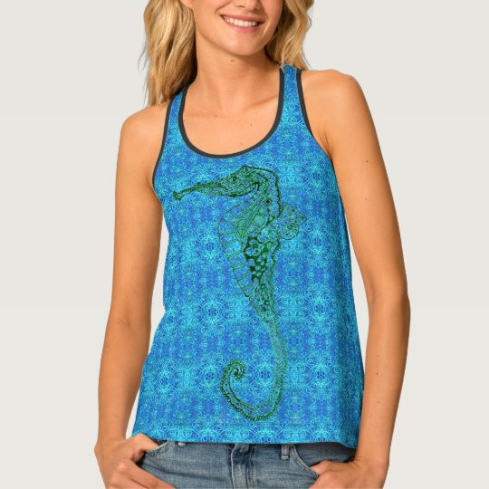 Blue Pattern and Seahorse Tank Top