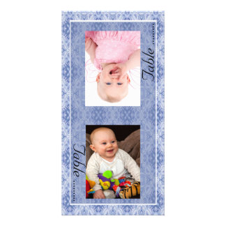 Blue Pattern Bride & Groom Photo Table Number Card Photo Greeting Card