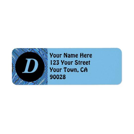 blue pattern monogram return address label