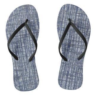 Blue pattern with textile texture flip flops