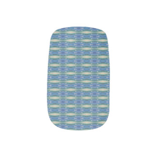 Blue Patterned Striped Nail Wraps Decals