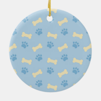 Blue Paw Print Bone Pattern Ceramic Ornament