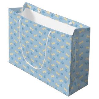 Blue Paw Print Bone Pattern Large Gift Bag