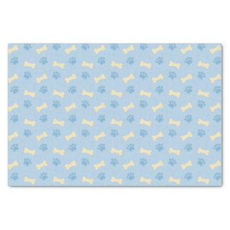 Blue Paw Print Bone Pattern Tissue Paper