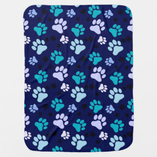 Blue Paw Print Dog Crate Blanket Receiving Blankets