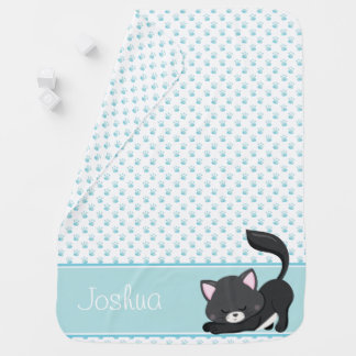 Blue Paw Print Pattern w/ Black Cat | Personalized Baby Blanket