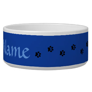 Blue Paw Print Personalized Pet Bowl