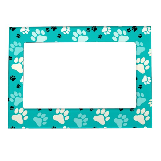 Blue Paw Print Picture Frame Magnet