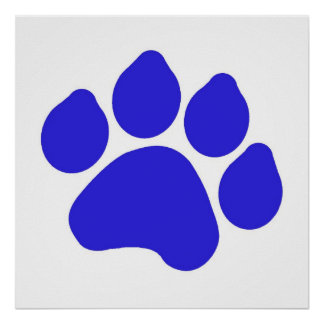 Blue Paw Print Poster