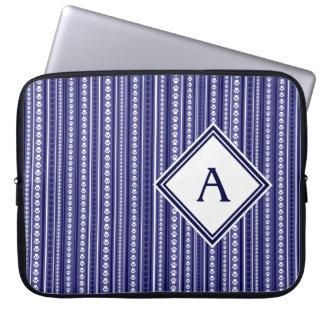 Blue Paw Print Stripe Laptop Case