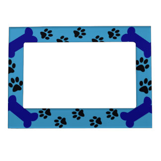 Blue Paw prints and Dog Bones Magnetic Picture Frames