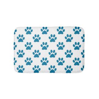 Blue paw prints bath mat