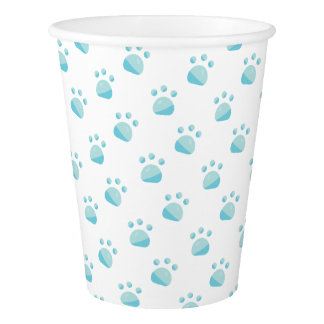 Blue Paw Prints Pattern Paper Cup