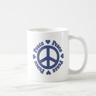 Blue Peace and Love Coffee Mug