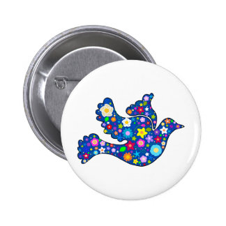 Blue Peace Dove made of decorative flowers 2 Inch Round Button