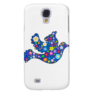 Blue Peace Dove made of decorative flowers Galaxy S4 Cases