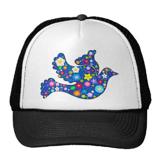 Blue Peace Dove made of decorative flowers Hat