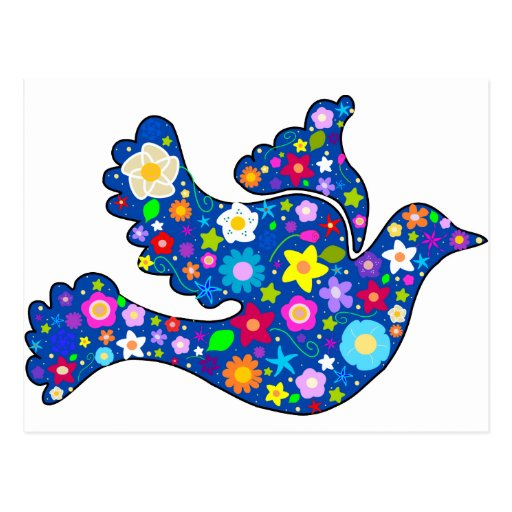 Blue Peace Dove made of decorative flowers Post Cards