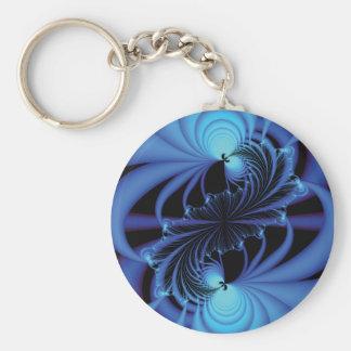 Blue Peace Fractal Basic Round Button Keychain