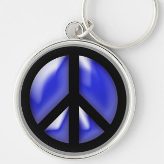 Blue Peace Silver-Colored Round Keychain
