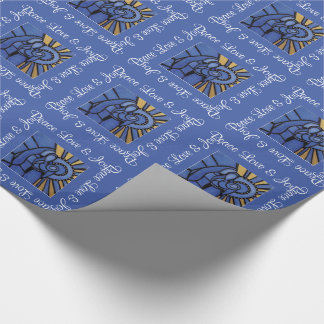 Blue Peace Love And Joy Holy Family Wrapping Paper