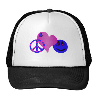 Blue Peace Love Happiness Mesh Hat