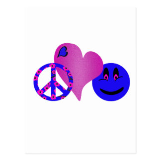 Blue Peace Love Happiness Postcard