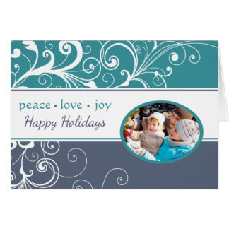 Blue PEACE LOVE JOY Folded Holiday Card