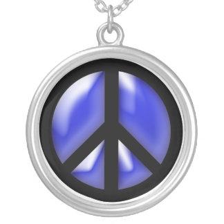 Blue Peace Round Pendant Necklace