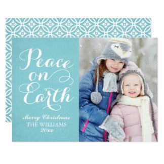Blue Peace on Earth | Holiday Photo Card