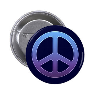 Blue Peace Sign 2 Inch Round Button
