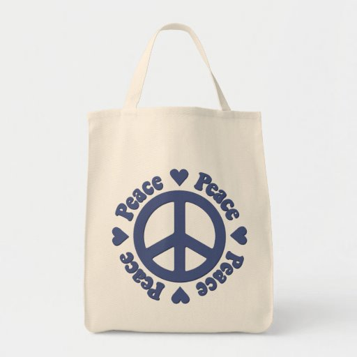 Blue Peace Sign Bags