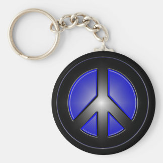 blue peace sign basic round button keychain