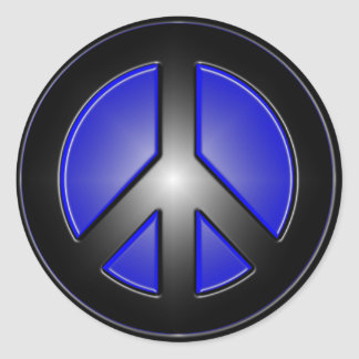 Blue Peace Sign Classic Round Sticker