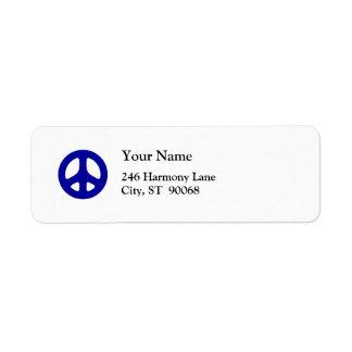 Blue Peace Sign Custom Return Label Return Address Label