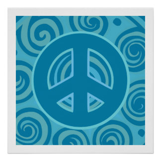 Blue Peace Sign Design Print
