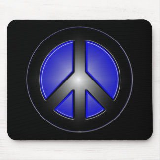 blue peace sign mouse pad