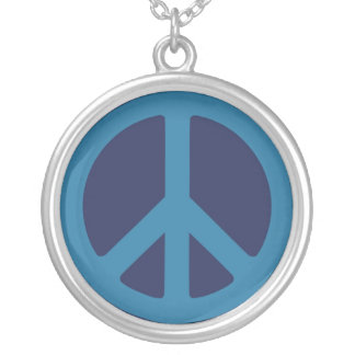 Blue Peace Sign Necklace