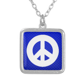 Blue Peace Sign Personalized Necklace