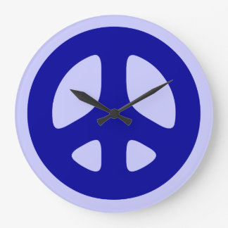Blue Peace Sign on Blue Wall Clock