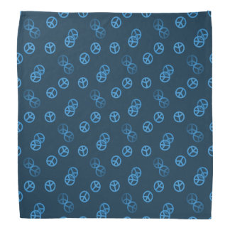 Blue Peace Sign Pattern Bandanas