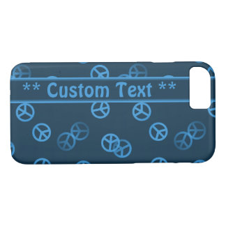 Blue Peace Sign Pattern w/ Custom Text iPhone 7 Case