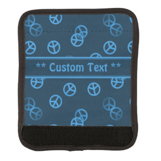 Blue Peace Sign Pattern w/ Custom Text Luggage Handle Wrap