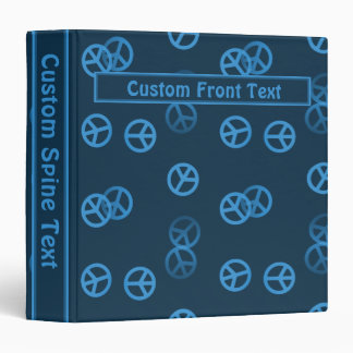 Blue Peace Sign Pattern w/ Custom Text Vinyl Binder