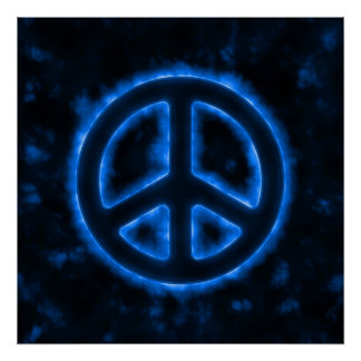 Blue Peace Sign Poster