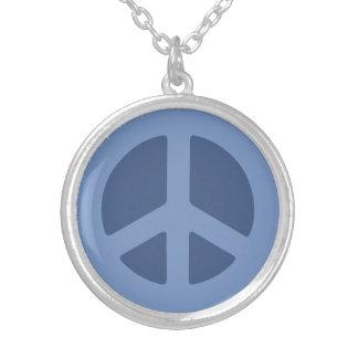 Blue Peace Sign Round Pendant Necklace