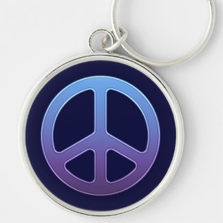 Blue Peace Sign Silver-Colored Round Keychain
